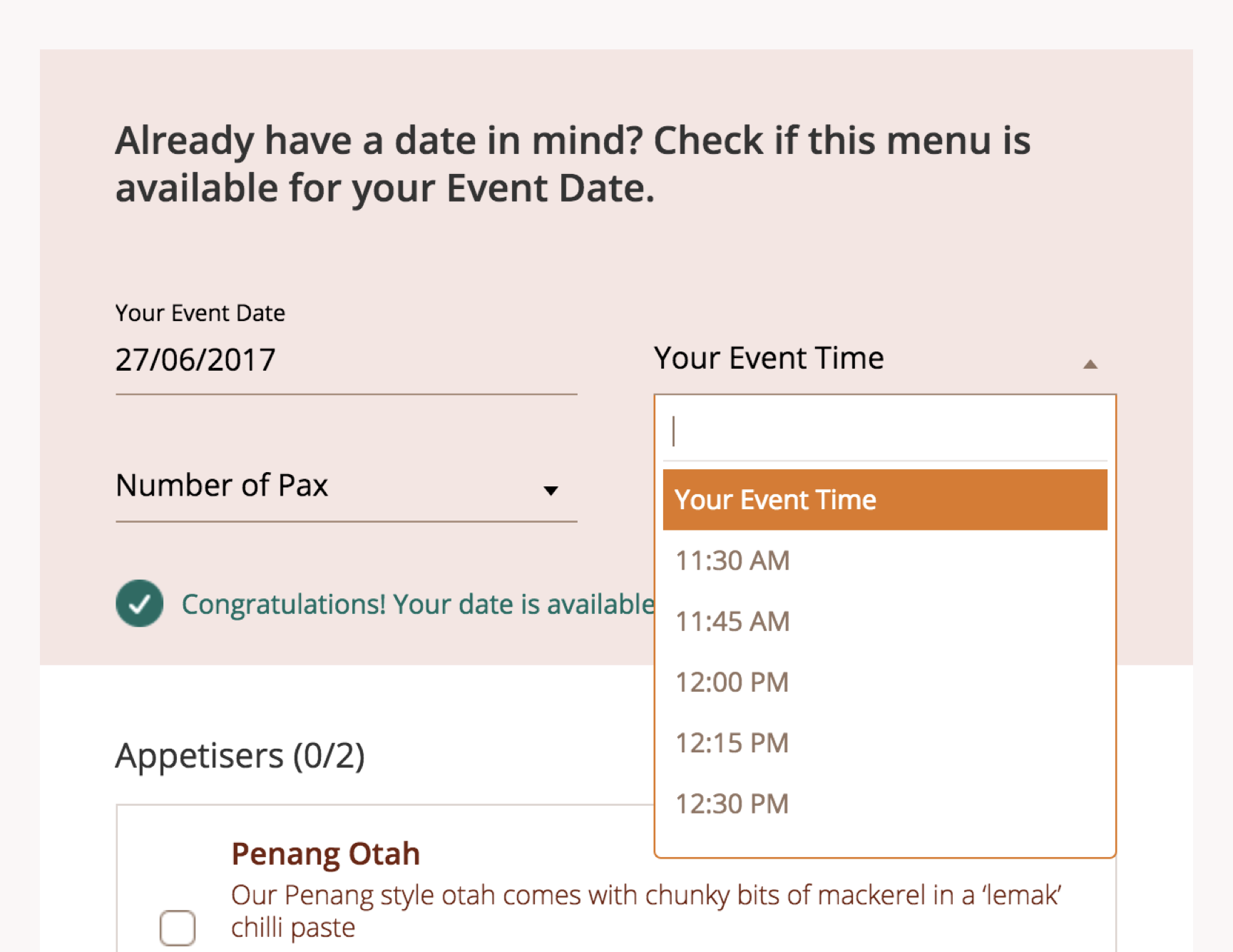 Catering Time And Date Checker